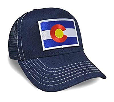 Colorado State Flag Denim Baseball Hat Adjustable Cap