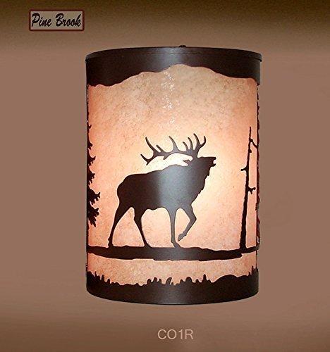 Rustic Light Elk Wall Sconce Lamp Cabin Decor Pine Tree Lighting Right Facing