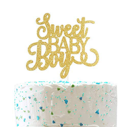 Sweet Baby Cakes (Sweet Baby Boy Cake Topper,Baby 1st birthday Sign,Gender Reveal Baby Shower Decorations( Double Sided Gold Glitter ))
