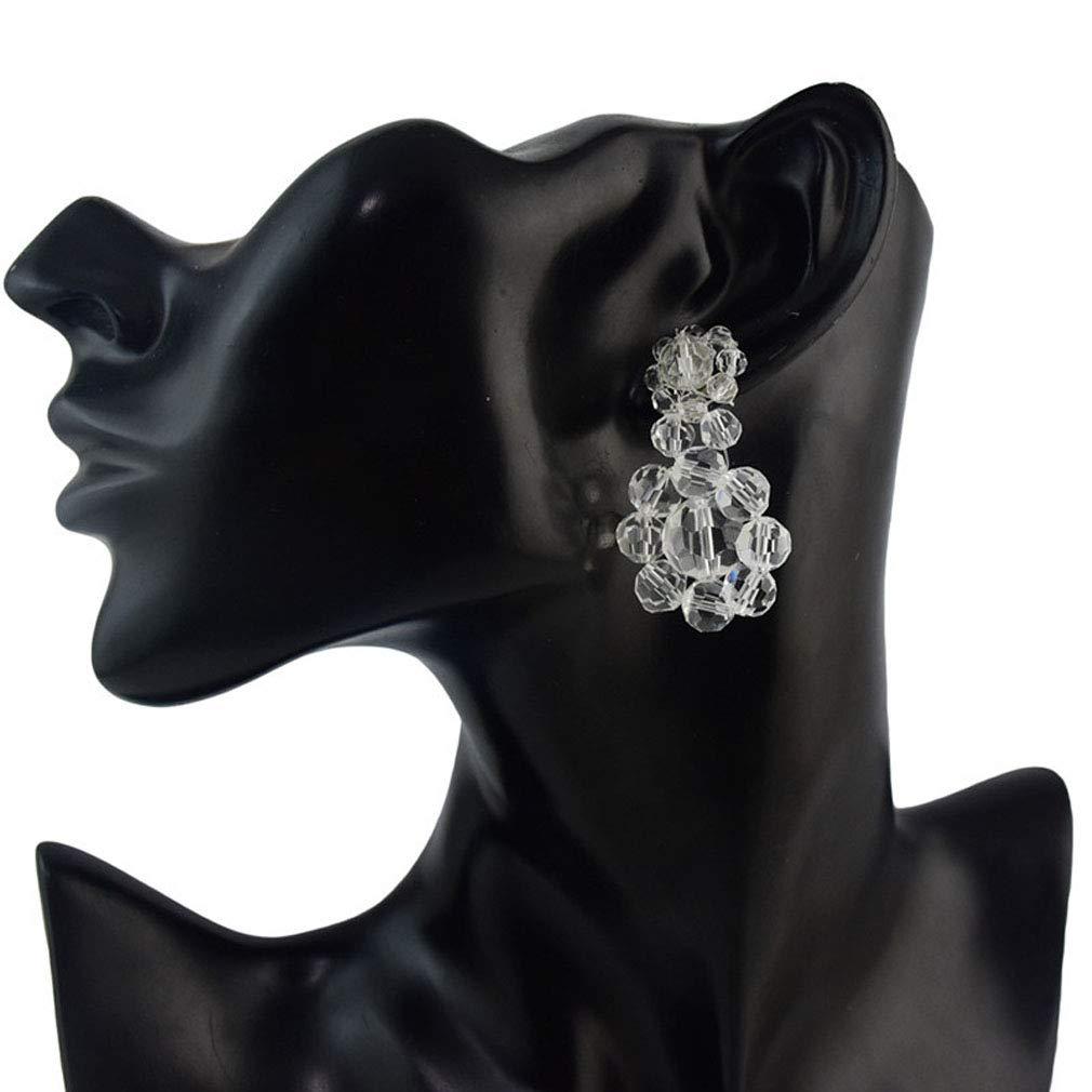 Jinxian Simple And Versatile Translucent Flower Shape Beaded Earrings