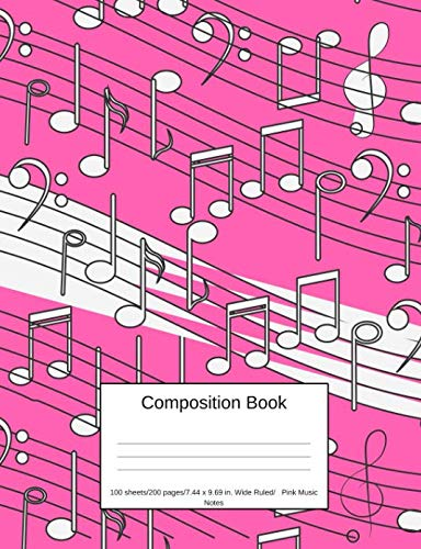 (Composition Book 100 sheets/200 pages/7.44 x 9.69 in. Wide Ruled/ Pink Music Notes: Writing Notebook   Lined Page Book Soft Cover   Plain Journal   Musical Notes)