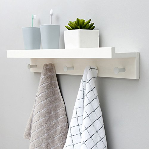 Coat Rack Wall-Mounted Shelf Bamboo Wooden Hook Rack With 5 Alloy Hooks And Upper Shelf For Storage For Entryway Hallway Bathroom Living Room Bedroom Kitchen,White