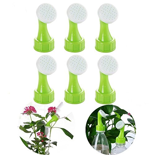 ORYOUGO 6 Pack Mini Hand Portable Watering Sprinkler,Waterers Bottle Spout Nozzle Cap Converter for Plant Flower Gardening,Works with 0.5,1,1.5,2 Liter Soda Bottle (Green)
