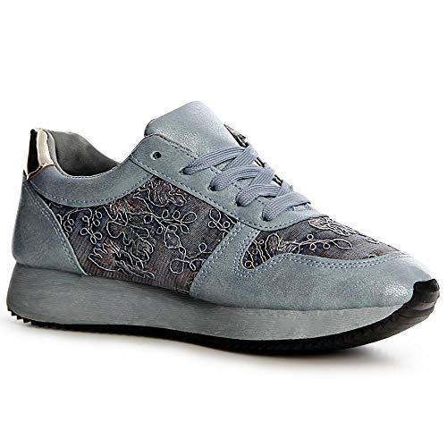 Sport Topschuhe24 De Chaussures Sneaker Bleu Femmes rqx4t0wr6