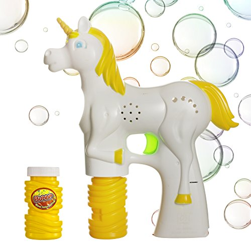 Windy City Novelties Unicorn Light-up Bubble Gun Blaster with 2 Bubble Solution and Batteries Included for Girls and Boys -