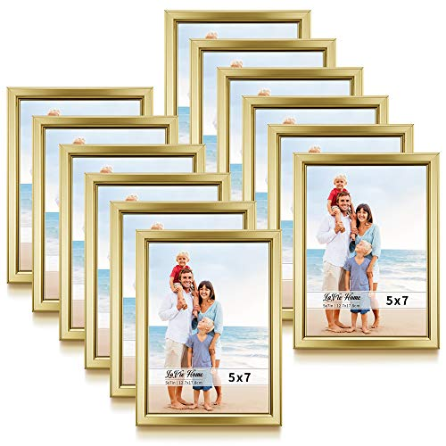 LaVie Home 5x7 Picture Frames (12 Pack, Gold) Simple Designed Photo Frame with High Definition Glass for Wall Mount & Table Top Display, Set of 12 Classic Collection ()