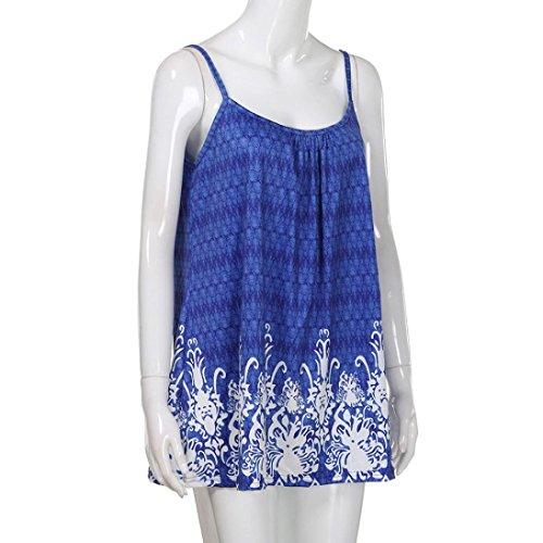 Tank Casual Halter Lache Impression T Femme Taille Blouse t Top sans New Grande HUI Bleu HUI Manches Shirt Dbardeurs Tee wSq0OAWxR