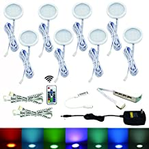 Aiboo RGB Color Changeable LED Under Cabinet Lights Kit 8 Packs of Aluminum Slim Puck Lamps for Kitchen Counter Wardrobe Counter Furniture Ambiance Christmas Xmas Decorating Lighting