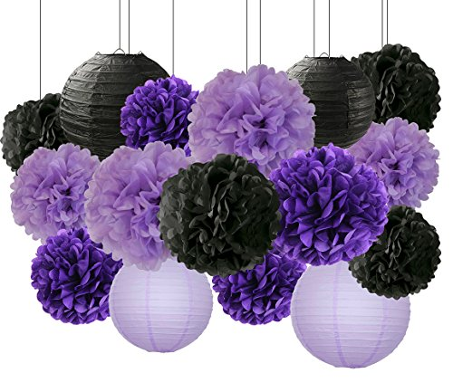 Bridal Shower Decorations Halloween Decorations 16 pcs Black Lavender Purple 10inch 8inch Tissue Paper Pom Pom Black Purple Party Decorations -