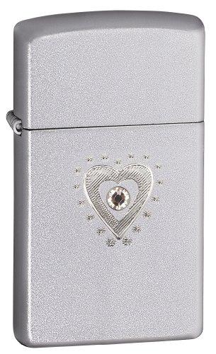 Zippo Slim Satin Chrome TR Heart Bling Lighter (Silver, 5 1/2x3 1/2-Cm)