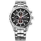 Jiusko Men's 62LS02 Black Multifunction Tachymeter Chronograph Stainless Steel 100m Sports Dress Silver Watch