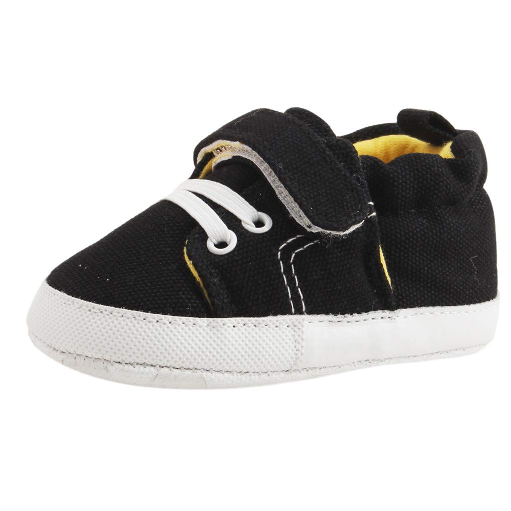Yalasga Infant Toddler Newborn Baby Girls Boys Lace Up Canvas Shoes Soft Shoe Anti-Slip First Walkers Sneaker (Black, 0-6Months)