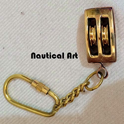 Solid Brass Pulley Design Keychain | Nautical