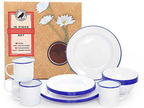 Enamelware 16 Piece Dinnerware Starter Set - Solid White with Blue Trim - Falcon Enamelware