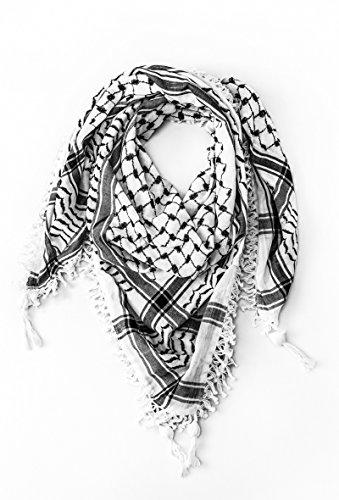Hirbawi Premium Arabic Scarf 100% Cotton Shemagh Keffiyeh 47'x47' Arab Scarf (Mar Elias)