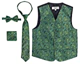 Gioberti Boy's 4 Piece Formal Paisley Vest Set, Green, Size 6-7