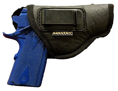 IWB Gun Holster by Houston - ECO LEATHER Concealment Inside The Waistband With Metal Clip FITS GLOCK 42,SIG P938, 1911 3, Kahr 380, Bersa 380, Si P938, Diamond Back 9mm