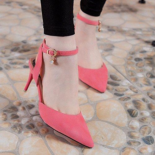 GRRONG Zapatos De La Mujer La Palabra Sandalias Del Ante De Los Zapatos De Tacón Alto Finos Con Cabeza Puntiaguda Red