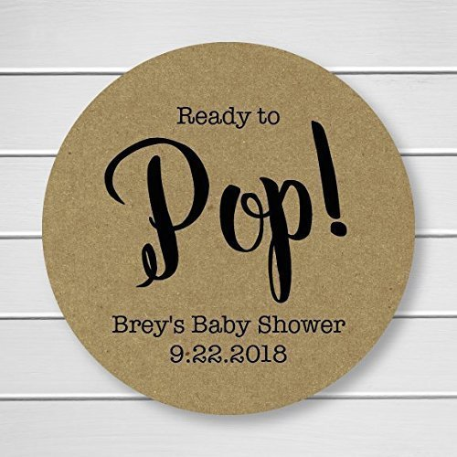 Ready to Pop! Baby Shower Stickers, Baby Shower Labels, Brown Paper Stickers, Kraft Stickers (#368-KR)