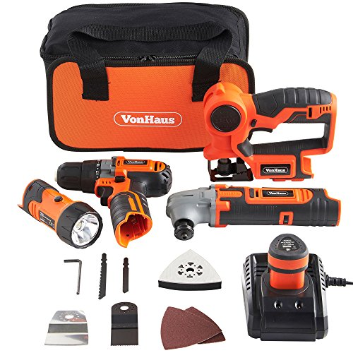 VonHaus 12V Cordless Power Tools Combo Kit Set with 2-Speed Power Drill Driver, Multi Purpose Saw, Oscillating Multi-Tool and Flashlight Torch with Carry Case, Battery and Charger