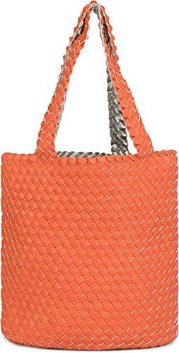 hand Silver in bag reversible in 02012182 of 2 Color bag shoulder Orange Beige woven ladies styleBREAKER look bag Gold shopping set bag bag bags bag xwSWF0f