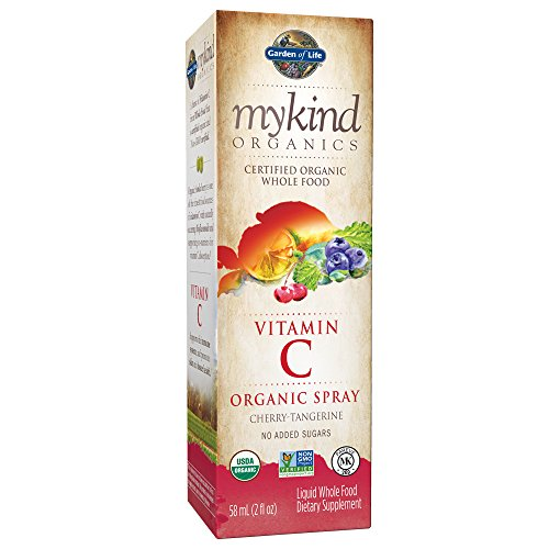 Garden of Life Vitamin C with Amla - mykind Organic C Vitamin Whole Food Supplement for Skin Health, Cherry Tangerine Spray, 2oz Liquid