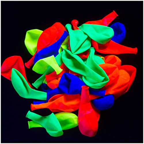 UV Blacklight Reactive Fluorescent / Neon Party Balloons - 50-Pack