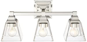 "Mencino 20"" Wide Satin Nickel and Clear Glass Bath Light"
