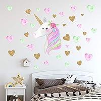 Unicorn Wall Decals,Unicorn Wall Sticker Decor with Heart Flower Birthday Christmas Gifts for Boys Girls Kids Bedroom Decor Nursery Room Home Decor (A-Unicorn)