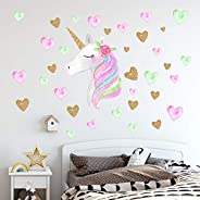 Unicorn Wall Decals,Unicorn Wall Sticker Decor with Heart Flower Birthday Christmas Gifts for Boys Girls Kids