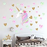little boy room ideas Unicorn Wall Decals,Unicorn Wall Sticker Decor with Heart Flower Birthday Christmas Gifts for Boys Girls Kids Bedroom Decor Nursery Room Home Decor (A-Unicorn)