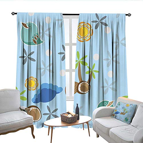 QianHe Blackout Curtains for Bedroom with Bird Palm Tree and Coconuts Drapes Panels W120 x L72 ()