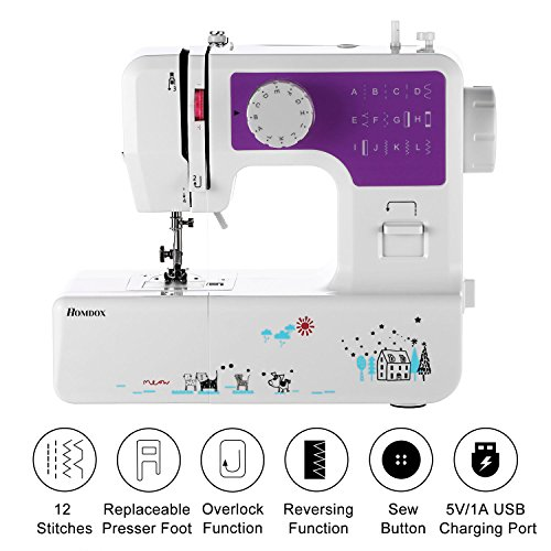 Meditool Sewing Machine with 5V/1A USB Charging Port & 12 Stitches,Household Multifunction Double Thread and Speed Free-Arm Crafting Mending Machine