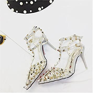 31cfc910902659 LGK FA Summer Women S Sandals Stiletto Sandals Rivet All-Match Shoes Rome  Hollow Tip ...