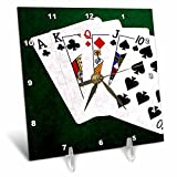 3dRose Alexis Photo-Art - Poker Hands - Poker Hands Straight Ace to Ten - 6x6 Desk Clock (dc_270319_1)