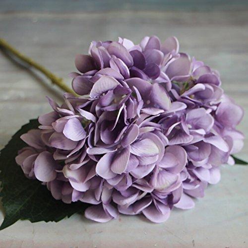 Adarl Artificial Flower Fake Flower Silk Hydrangea Flower Bouquet For Home Office Decor Party Festival Wedding Decoration(Purple,5pcs)
