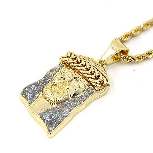 JoJo+%26+Lin+Mens+Gold+Tone+Large+Crowned+Jesus+Iced+Out+Pendant+with+24%22+Rope+Chain+Gold+Necklace+for+Men