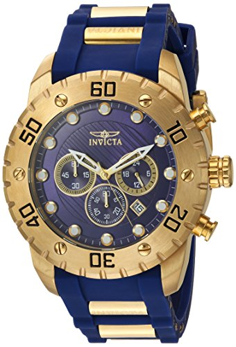 Invicta Men's 'Pro Diver' Quartz Stainless Steel and Polyurethane Casual Watch, Color:Blue (Model: 20280) (18k White Gold Watch)