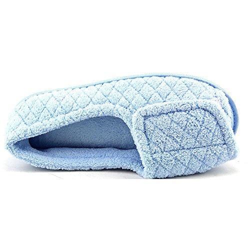 Zapatillas Ajustables Micro Chenille De Muk Luks, Azul Claro, 9.5-10.5 M / B