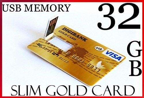 USB-Stick im ultradünnen Kreditkarten-Design, 32GB, hohe Speicherkapazität, USB 2.0, Digibank, Goldfarben