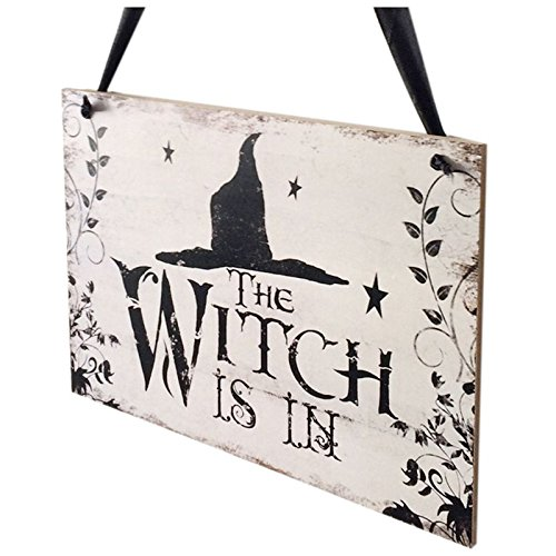Plate Wood - Nocm Crafts Halloween Witch Hat Wooden Ghost Festival Carnival Night Decorative Hanging Plate - Plate Stand Wood Front License Stands Book Table Decorative Display]()