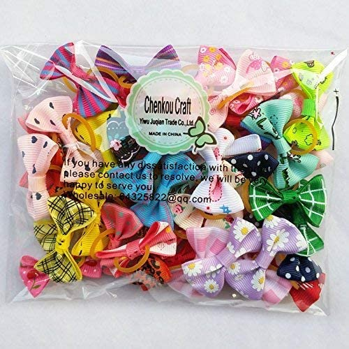 Chenkou Craft 50 pcs/25 sets New Dog Hair Bows with Rubber Band Bow Pet Grooming Products Mix Colors Varies Patterns Pet Hair Bows Dog Accessories