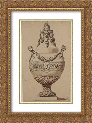 Anonymous Artist, French, 18th Century - 18x24 Gold Ornate Frame and Double Matted Museum Art Print - Urn with Acanthus Base and Flambeaux Top