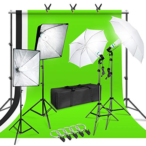 LimoStudio Photo Shooting Kit with Background Support System & Umbrella Softbox Lighting Kit, Photo Video Studio, AGG1388 from LimoStudio