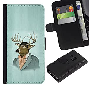 KingStore / Leather Etui en cuir / Samsung Galaxy S3 MINI 8190 / Retrato de los ciervos Arte Dibujo Pintura Traje de época