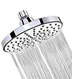 WASSA Shower Head - 6 Inch Clog Anti-Leak Fixed Chrome Rain Showerhead - Rainfall Spray Relaxation and Spa for High Water Pressure and Flow - Adjustable Metal Swivel Ball Joint with Filter, Silver