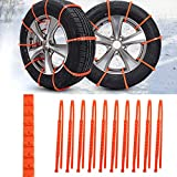 BEESCLOVER 10pcs/Set Universal Anti-Skid Tire Chains for Car Sedan SUV Snow Winter Emergency Drive Orange