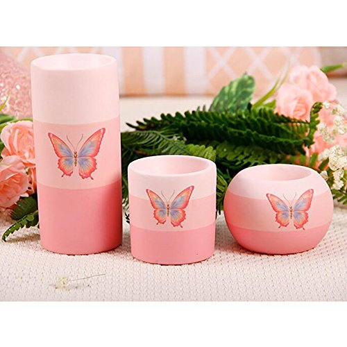Lovely Cute Pink Tea Light Candle Holder Set of 3 with Butterfly Pattern Romantic Wedding Dinner Home (Pink Butterfly Candle Holder)