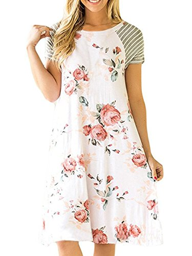 Famulily Women's Floral Print Casual Short Sleeve Loose T Shirt Knee Length Dresses(X-Large,White) ()