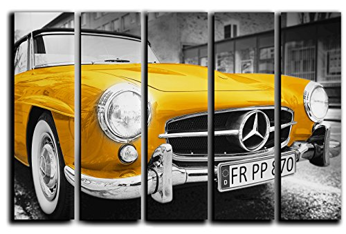 (Large Vintage Mercedes Wall Art Picture Decor on Canvas Panels - Retro Old Classic Car Vehicle Transportation Print Poster Painting - Golden Mercedes-Benz Big Picture 35 by 55 inches)